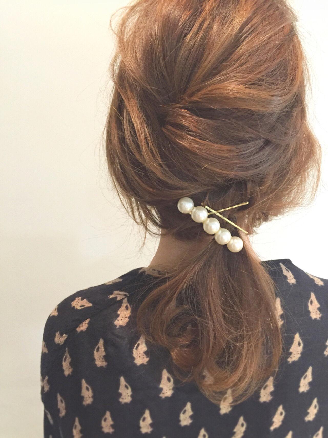 ショート 簡単ヘアアレンジ ミディアム 大人かわいいヘアスタイルや髪型の写真・画像