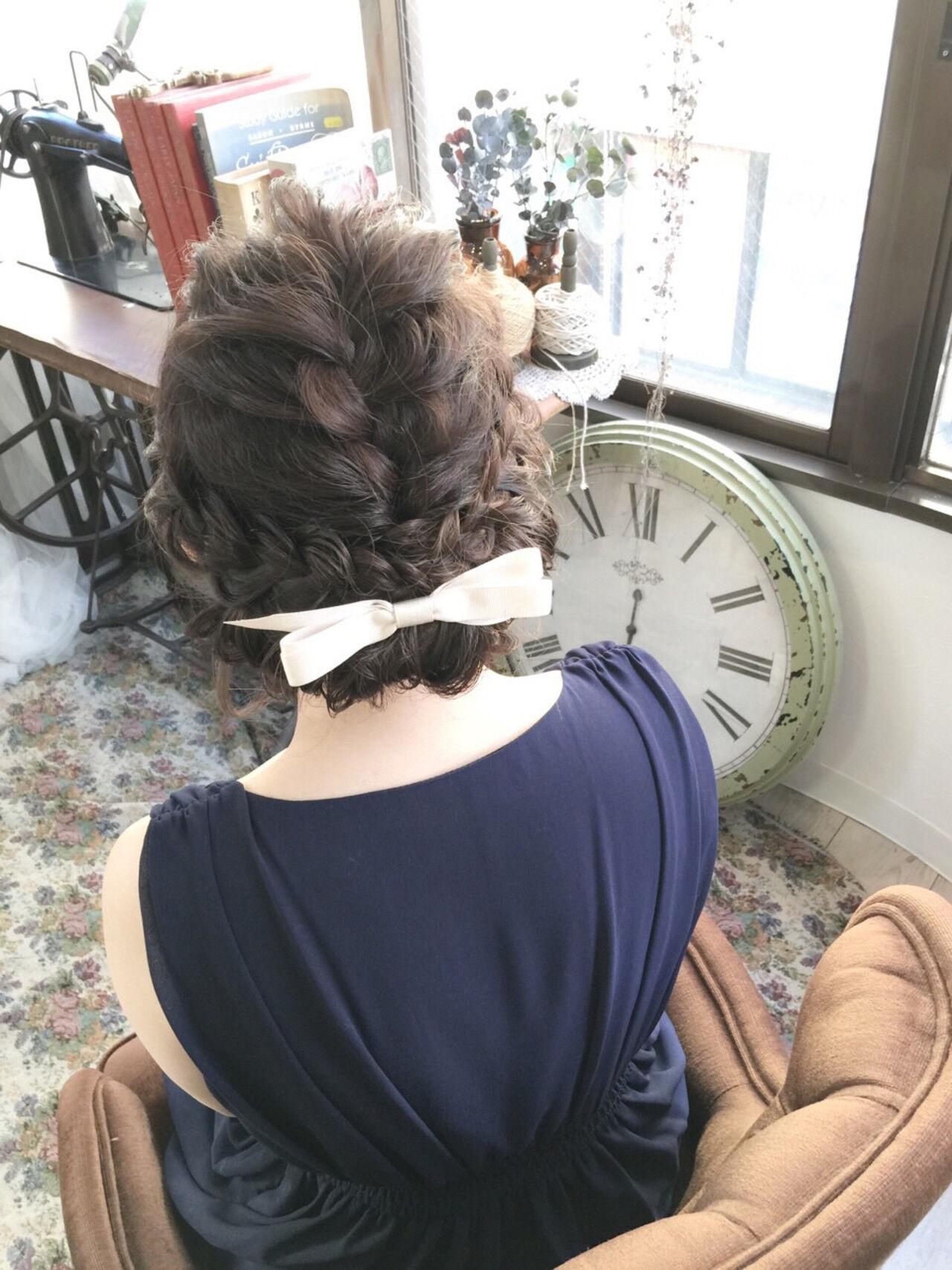 ミディアム 三つ編み 結婚式 ヘアアレンジヘアスタイルや髪型の写真・画像