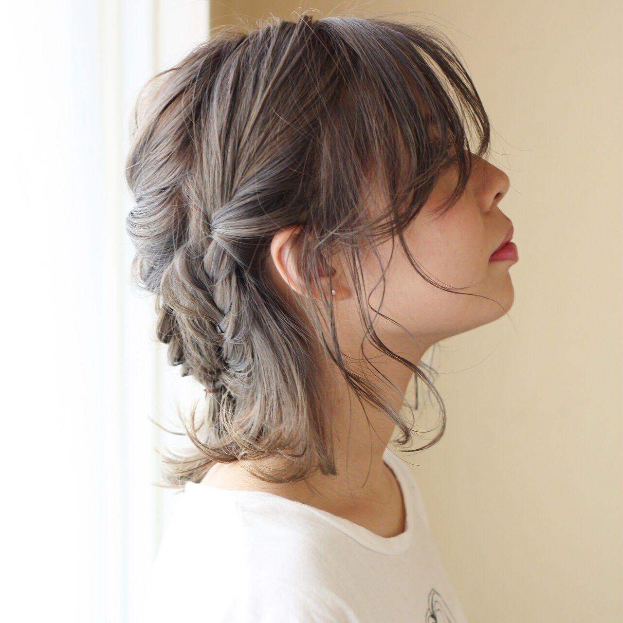ボブ ダブルカラー フィッシュボーン 簡単ヘアアレンジヘアスタイルや髪型の写真・画像