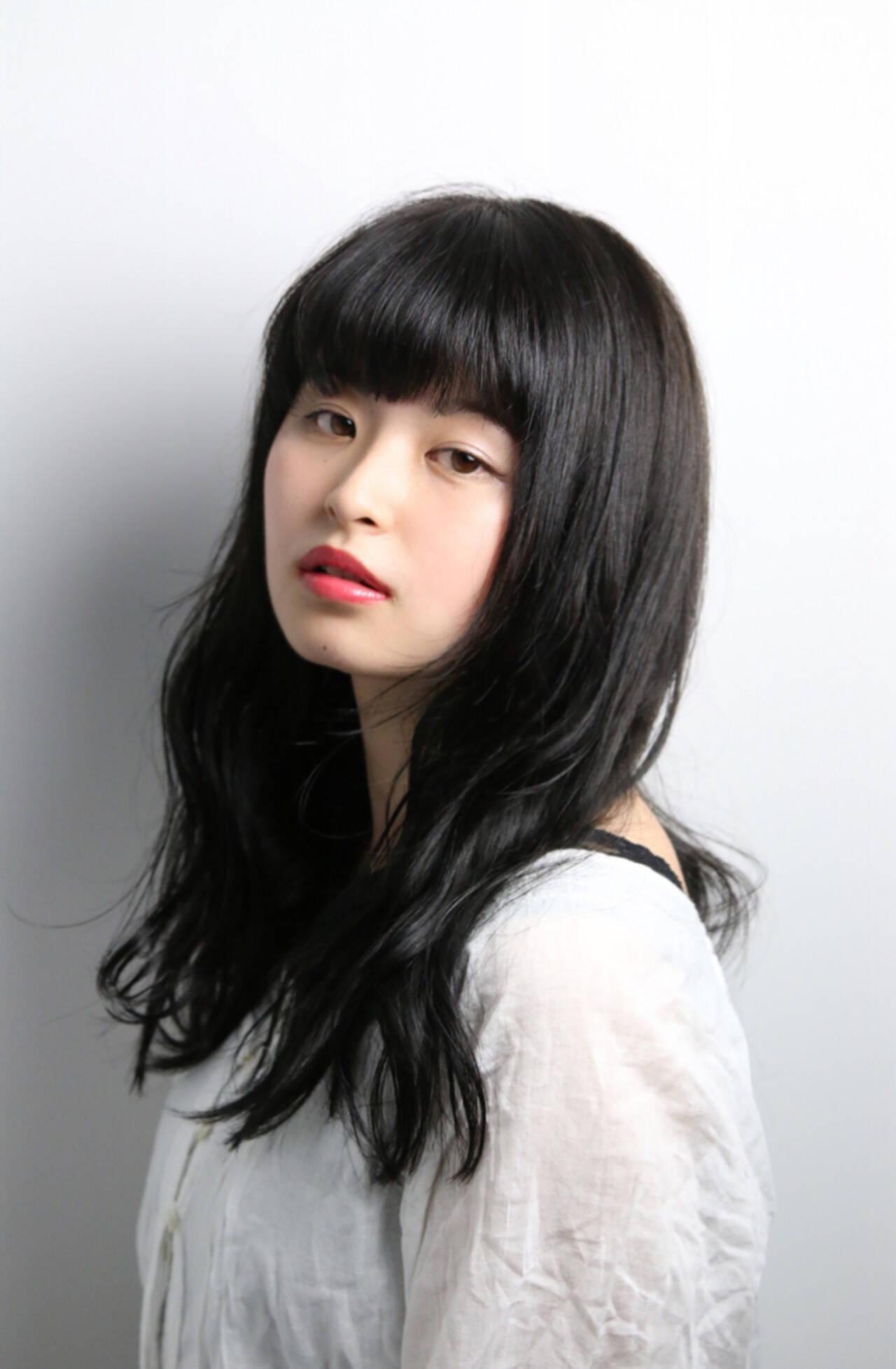 前髪あり 就活 暗髪 黒髪ヘアスタイルや髪型の写真・画像