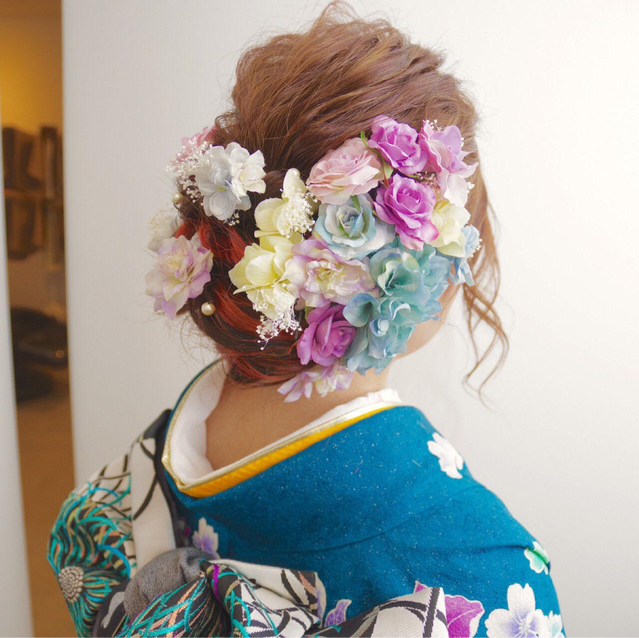 ヘアアレンジ ガーリー 振袖 セミロングヘアスタイルや髪型の写真・画像
