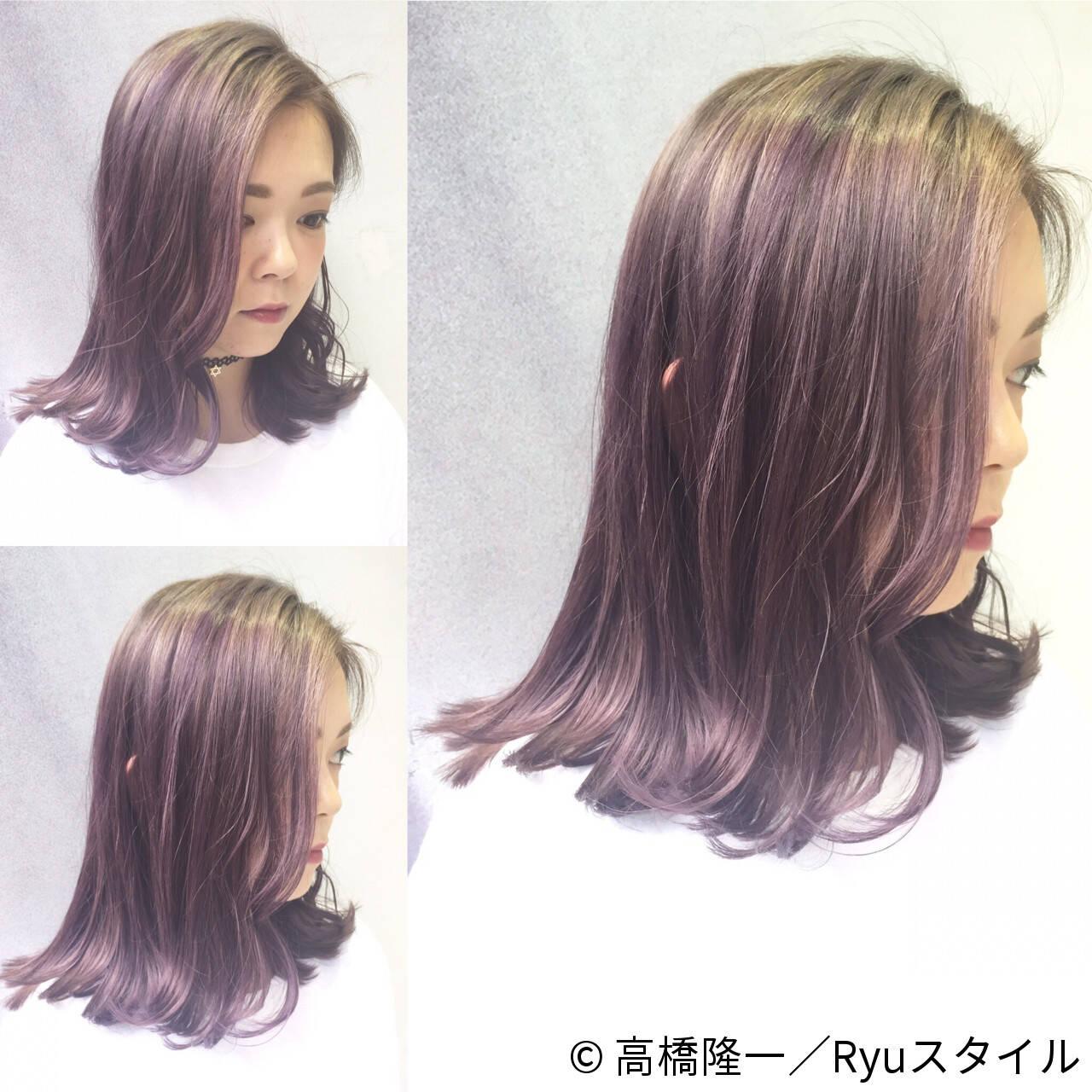 ストリート ピンク グレー ミディアムヘアスタイルや髪型の写真・画像