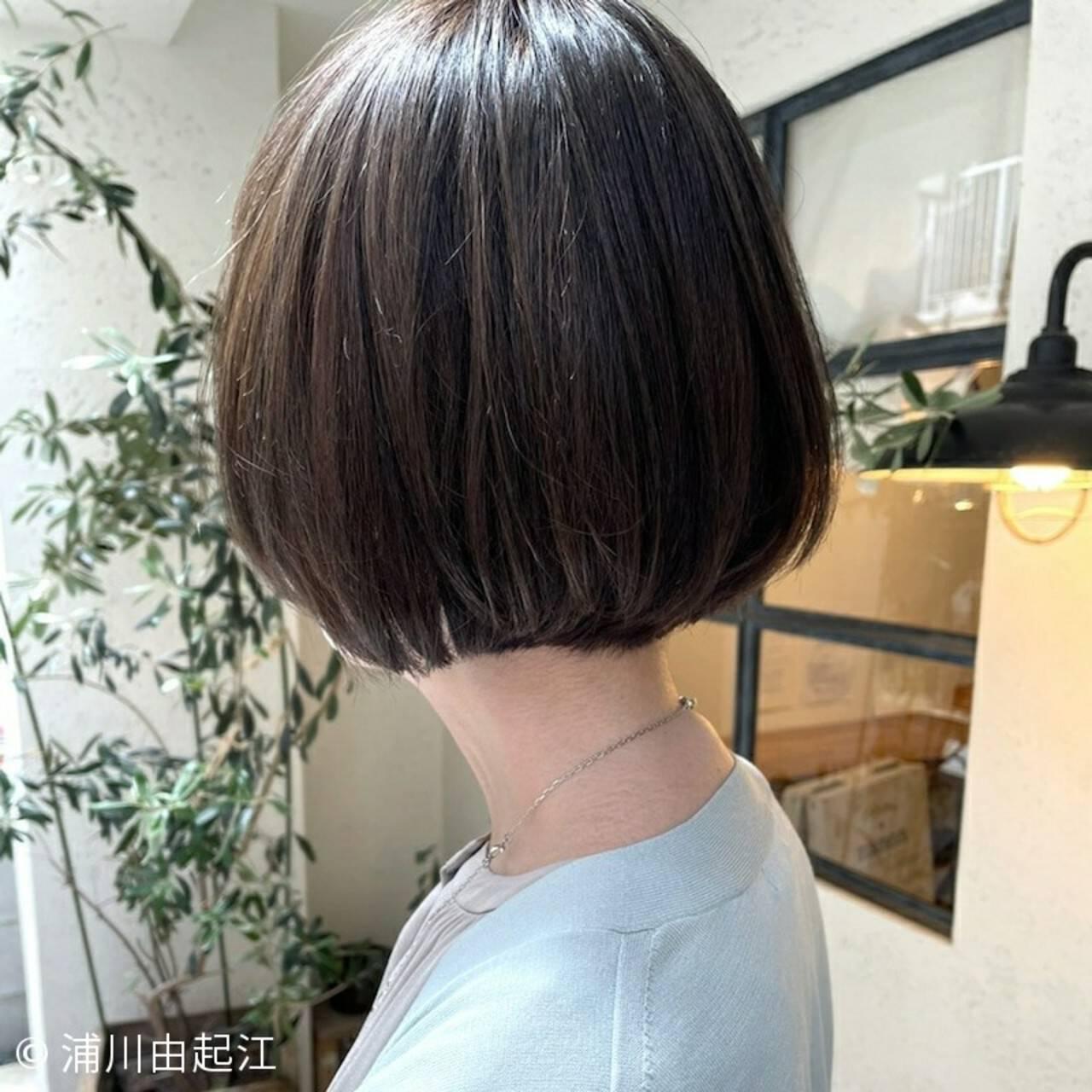 ストレート ナチュラル 縮毛矯正 ボブヘアスタイルや髪型の写真・画像