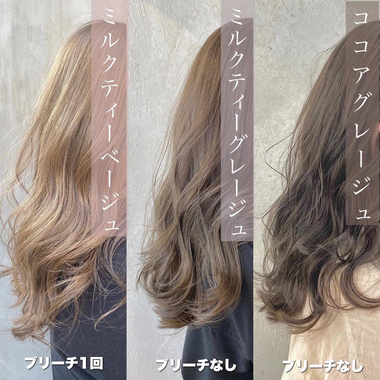 ロング ココアベージュ ミルクティーベージュ ナチュラルヘアスタイルや髪型の写真・画像