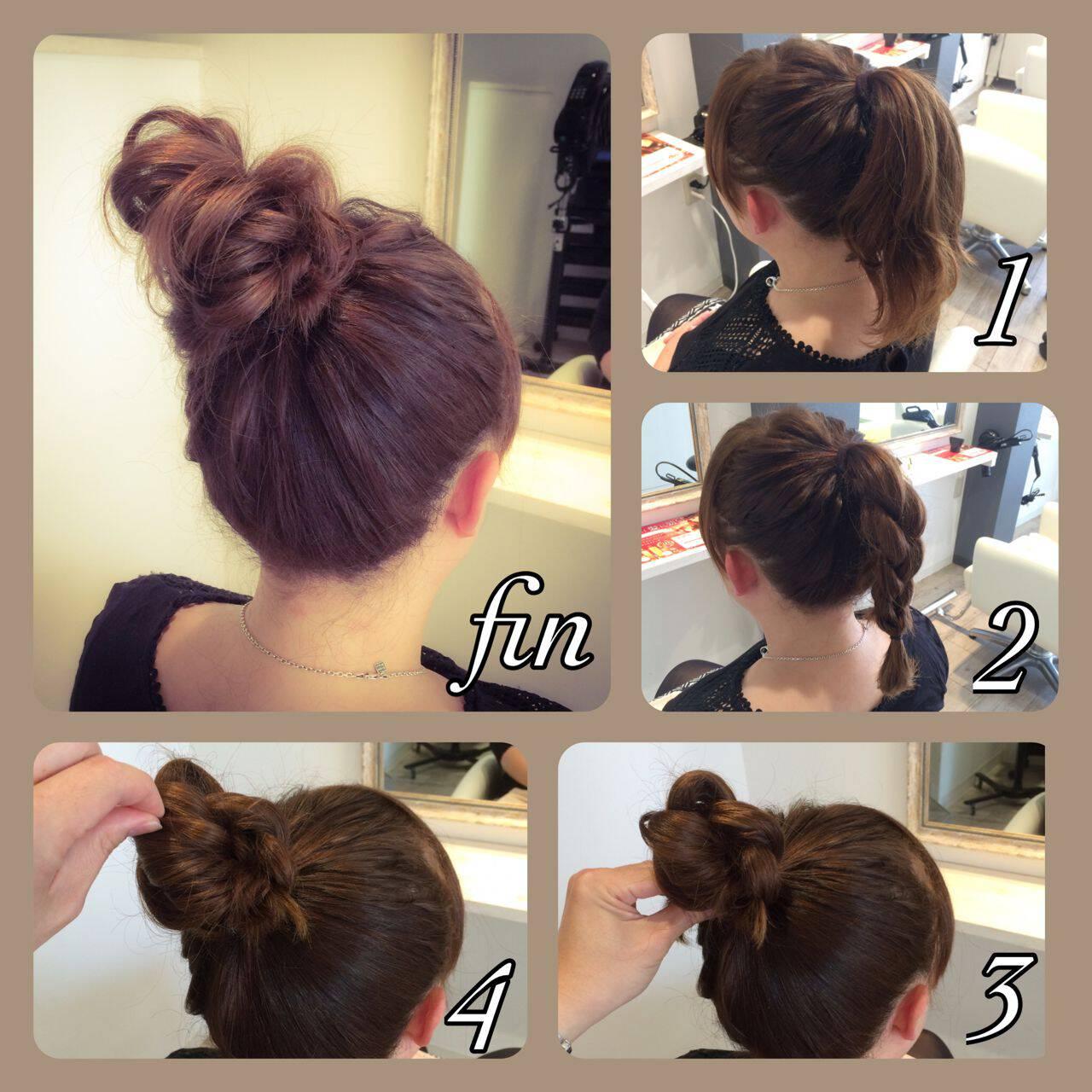 ショート ヘアアレンジ お団子 簡単ヘアアレンジヘアスタイルや髪型の写真・画像