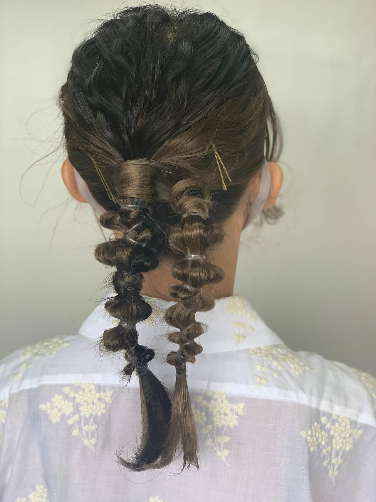 結婚式ヘアアレンジ フェミニン セミロング インナーカラーヘアスタイルや髪型の写真・画像