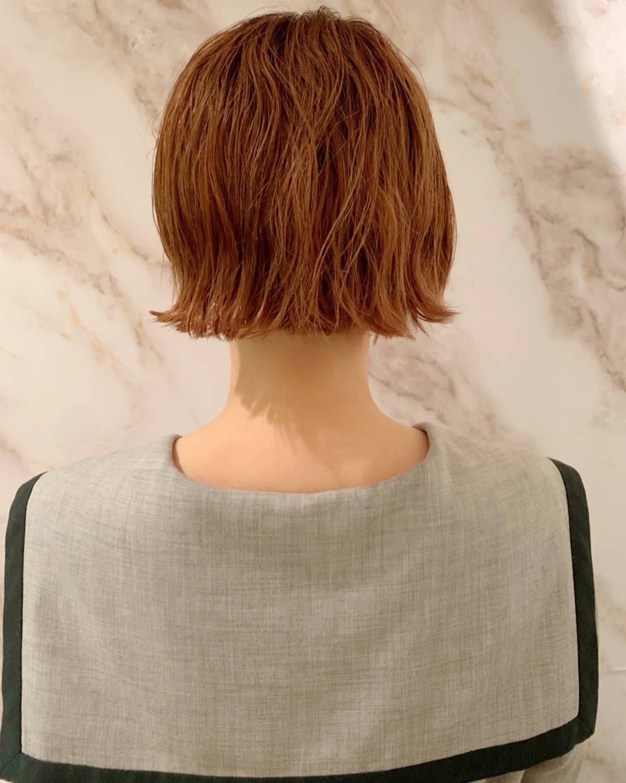 オレンジカラー アンニュイほつれヘア ボブ ナチュラルヘアスタイルや髪型の写真・画像