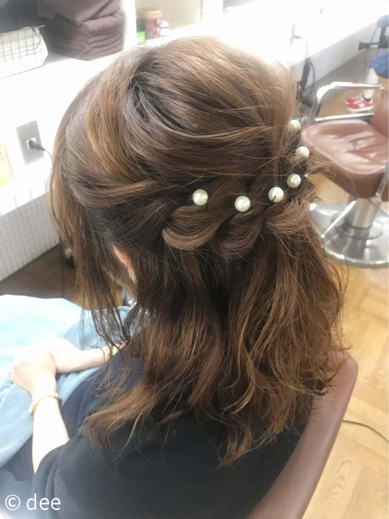 ヘアアレンジ ハーフアップ 結婚式 パールアクセヘアスタイルや髪型の写真・画像