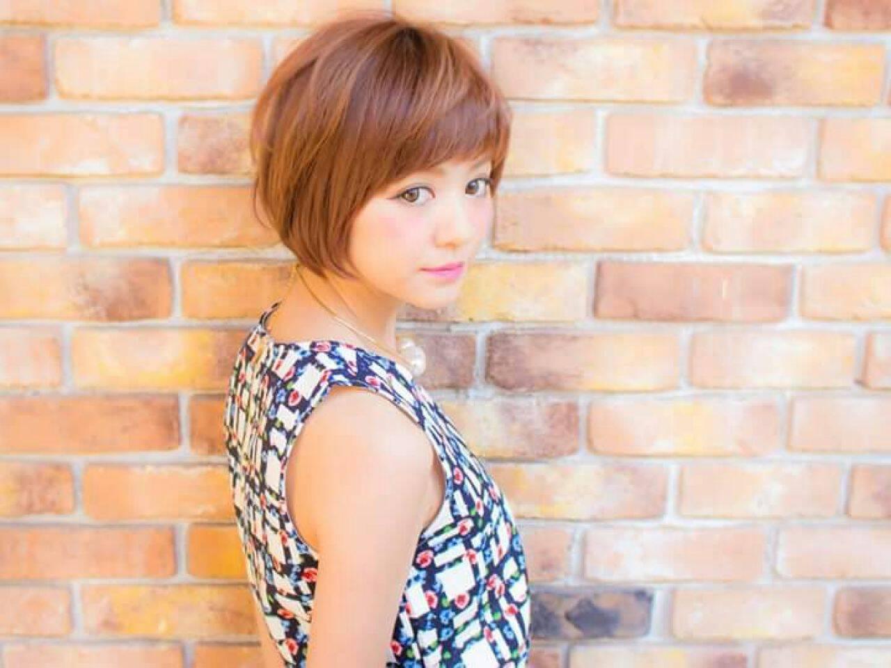 コンサバ モテ髪 愛され ショートバングヘアスタイルや髪型の写真・画像