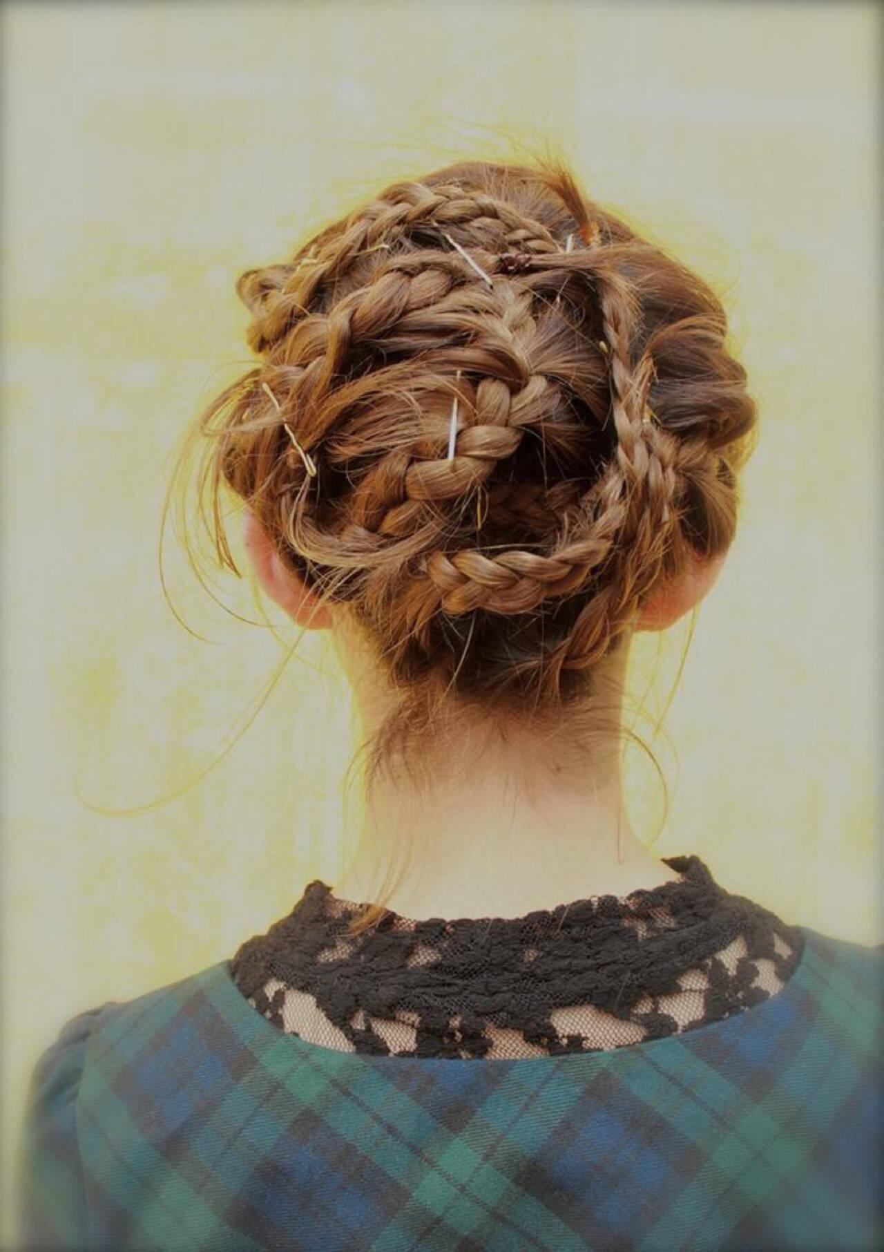 ヘアアレンジ 三つ編み ボブ 前髪ありヘアスタイルや髪型の写真・画像