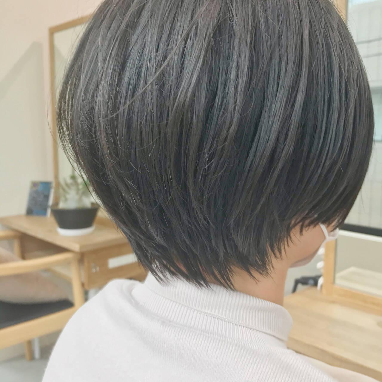 大人女子 大人かわいい ショートボブ ナチュラルヘアスタイルや髪型の写真・画像