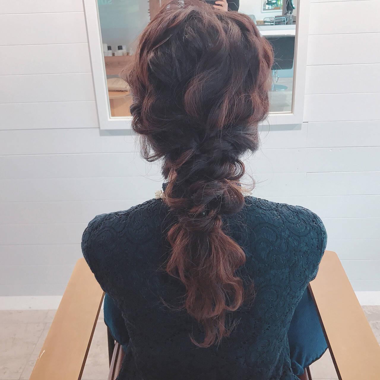 アンニュイ セミロング ヘアアレンジ 女子会ヘアスタイルや髪型の写真・画像