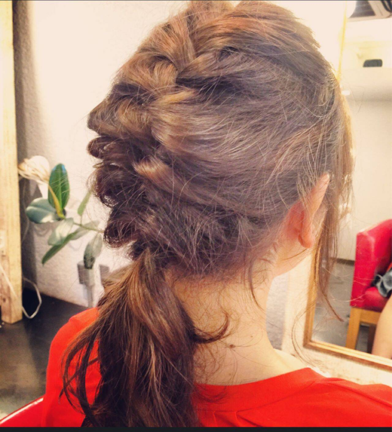 ヘアアレンジ ナチュラル ショート 編み込みヘアスタイルや髪型の写真・画像