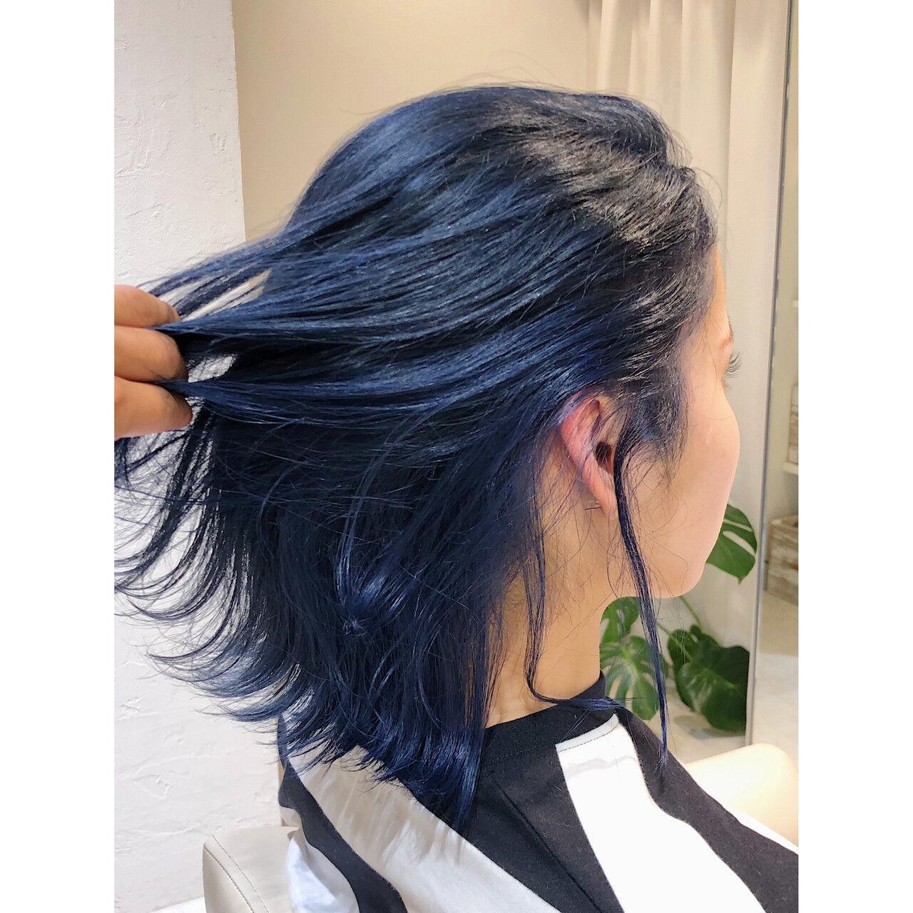 ターコイズブルー ボブ ネイビーブルー エレガントヘアスタイルや髪型の写真・画像