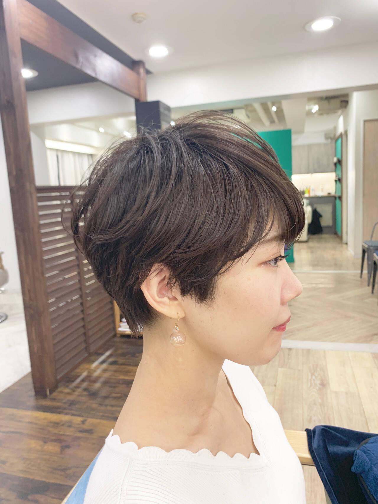前髪あり ショート 丸みショート ショートヘアヘアスタイルや髪型の写真・画像