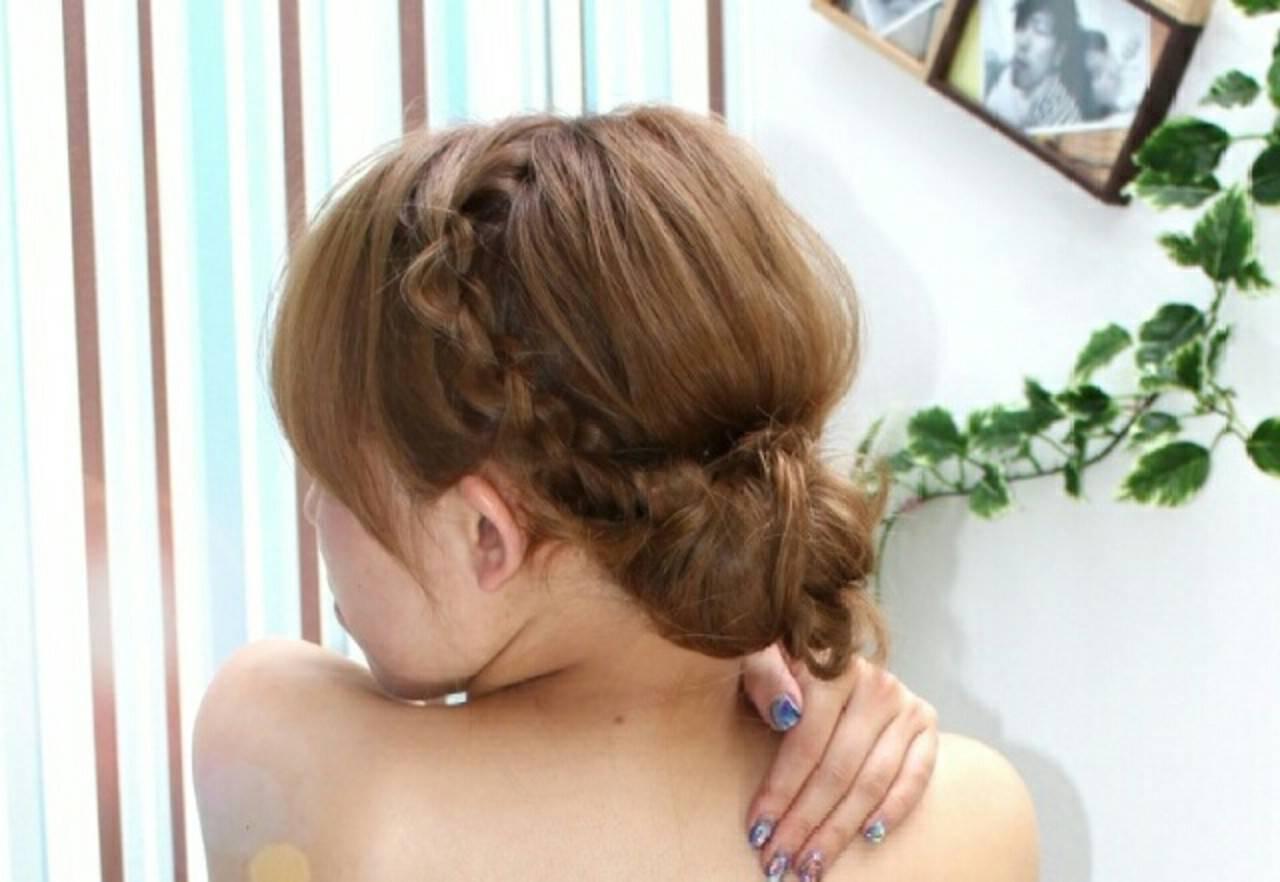 簡単ヘアアレンジ ショート ギブソンタック 結婚式ヘアスタイルや髪型の写真・画像