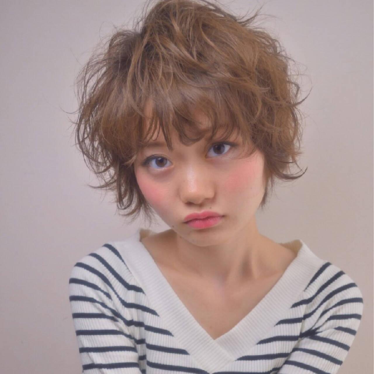 ウェーブ ガーリー ショート ヘアアレンジヘアスタイルや髪型の写真・画像