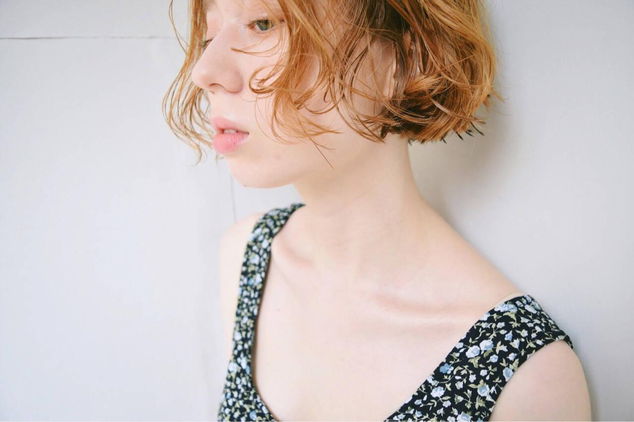 デート ガーリー フェミニン ボブヘアスタイルや髪型の写真・画像