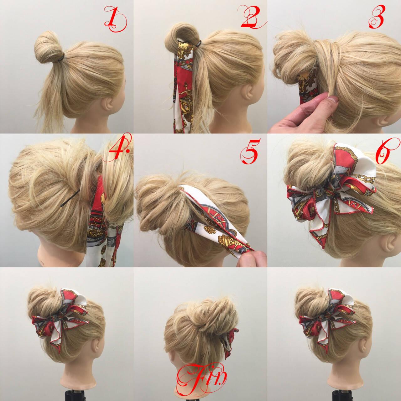 ゆるふわ ロング 簡単ヘアアレンジ メッシーバンヘアスタイルや髪型の写真・画像