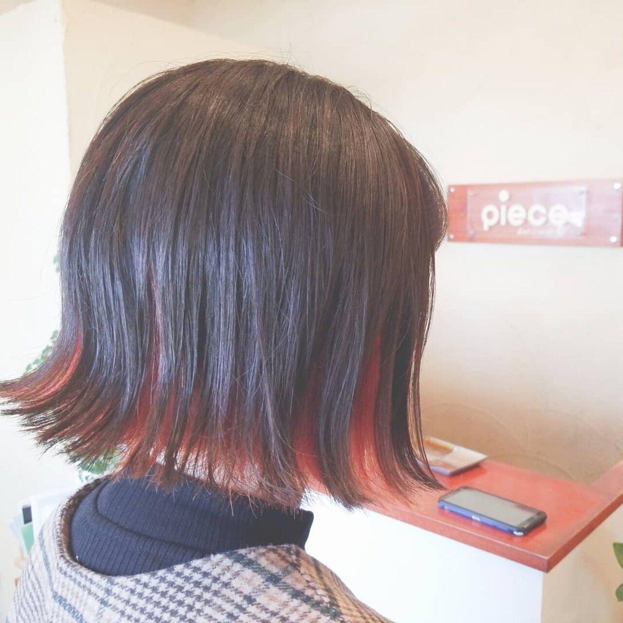 ボブ ダブルカラー インナーカラー N.オイルヘアスタイルや髪型の写真・画像