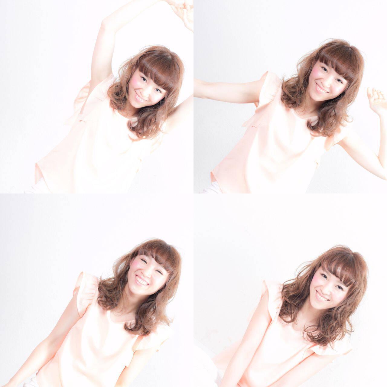 外国人風カラー 大人かわいい ゆるふわ オン眉ヘアスタイルや髪型の写真・画像