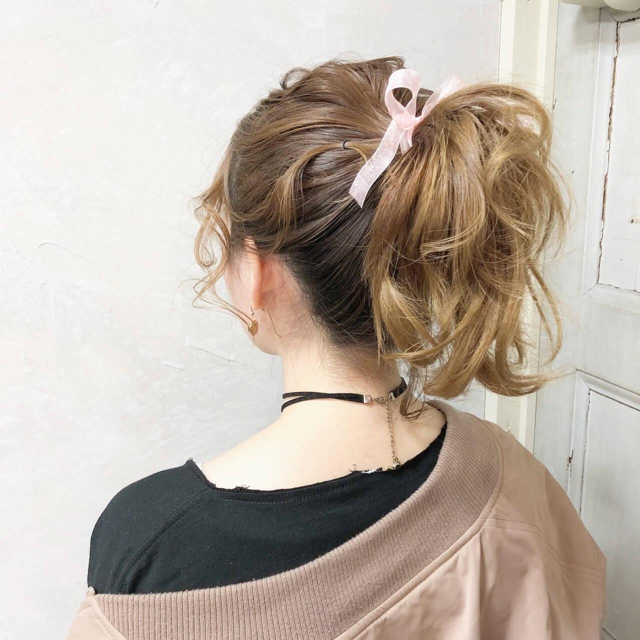 ポニーテール 簡単ヘアアレンジ ガーリー デートヘアスタイルや髪型の写真・画像
