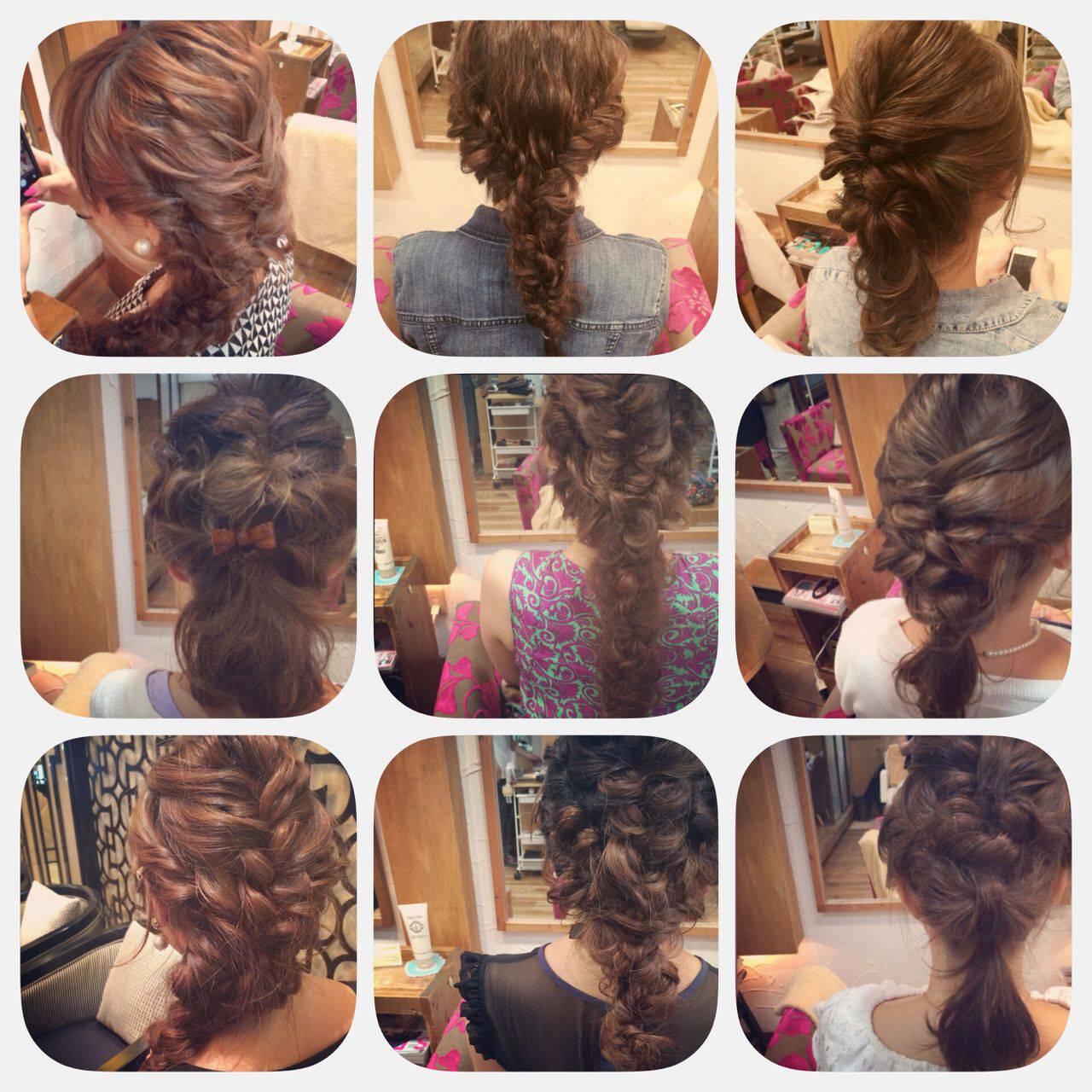 編み込み ショート ヘアアレンジ 簡単ヘアアレンジヘアスタイルや髪型の写真・画像