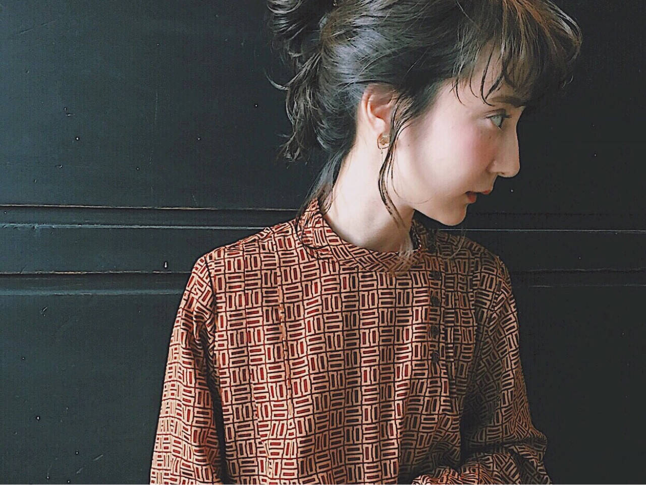 前髪あり 大人女子 ミディアム 簡単ヘアアレンジヘアスタイルや髪型の写真・画像