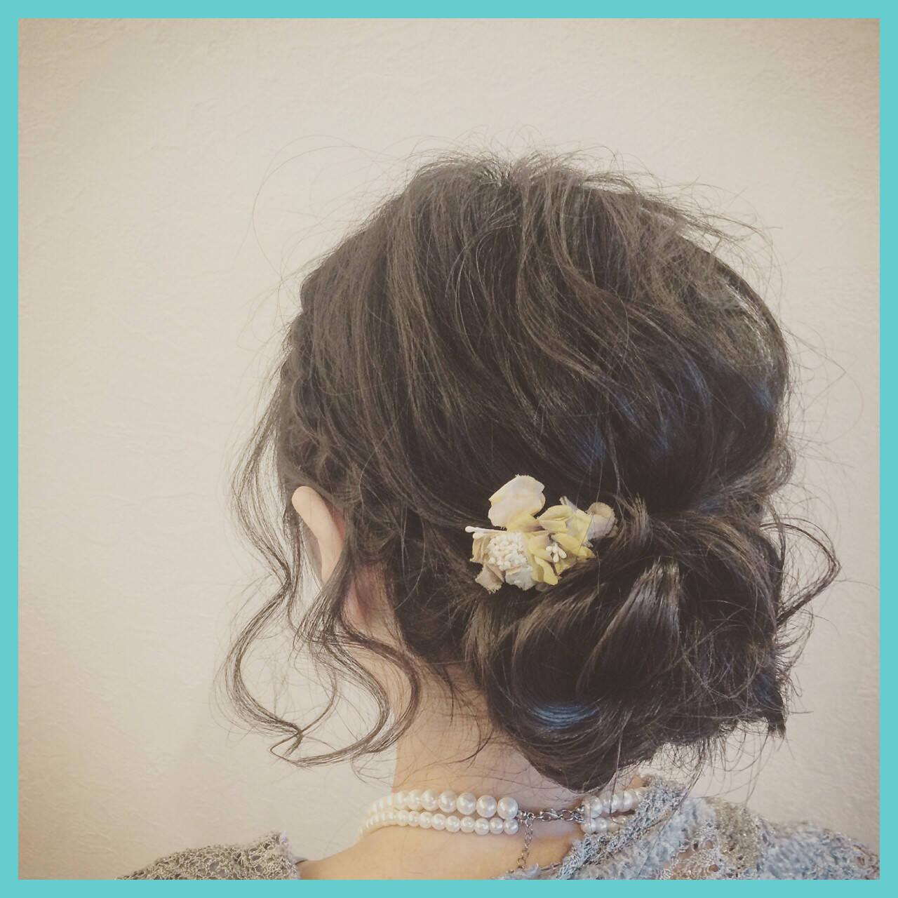 ゆるふわ 大人かわいい ミディアム 簡単ヘアアレンジヘアスタイルや髪型の写真・画像