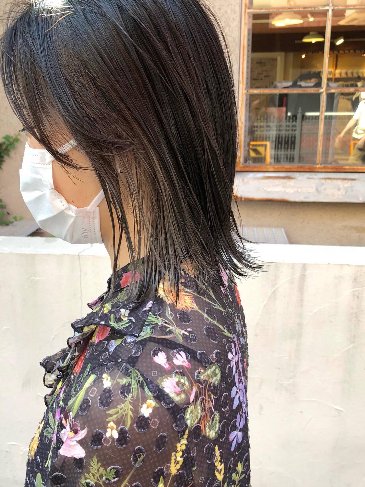 インナーカラー ボブ ストリート 切りっぱなしボブヘアスタイルや髪型の写真・画像
