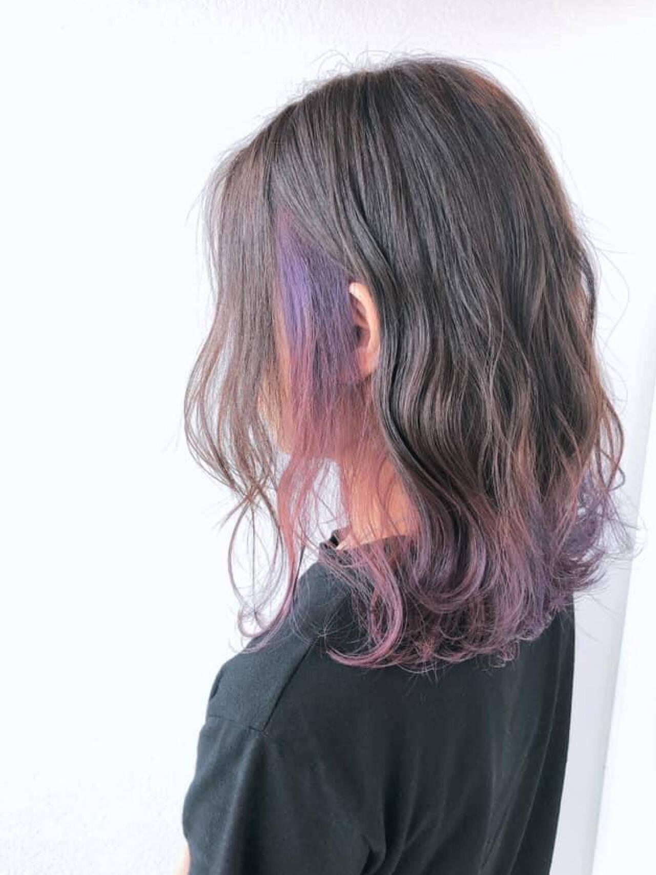 髪質改善カラー 髪質改善トリートメント インナーカラー フェミニンヘアスタイルや髪型の写真・画像