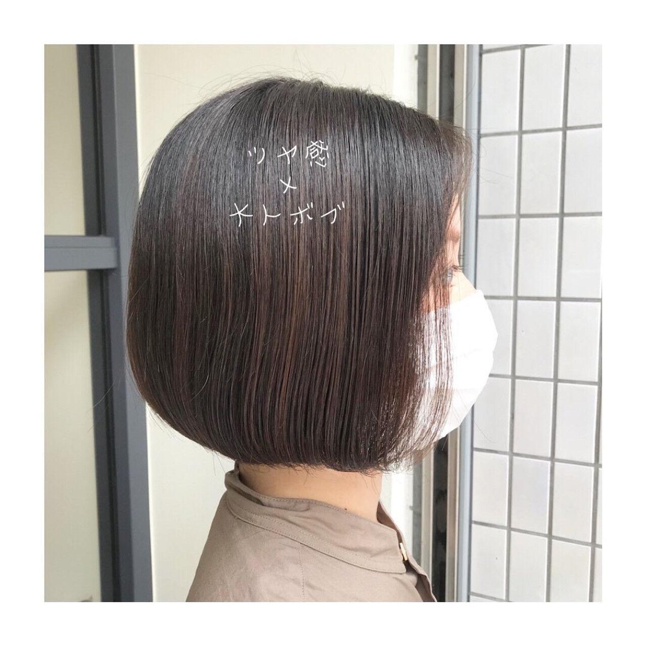 大人女子 大人ショート ツヤツヤ ボブヘアスタイルや髪型の写真・画像