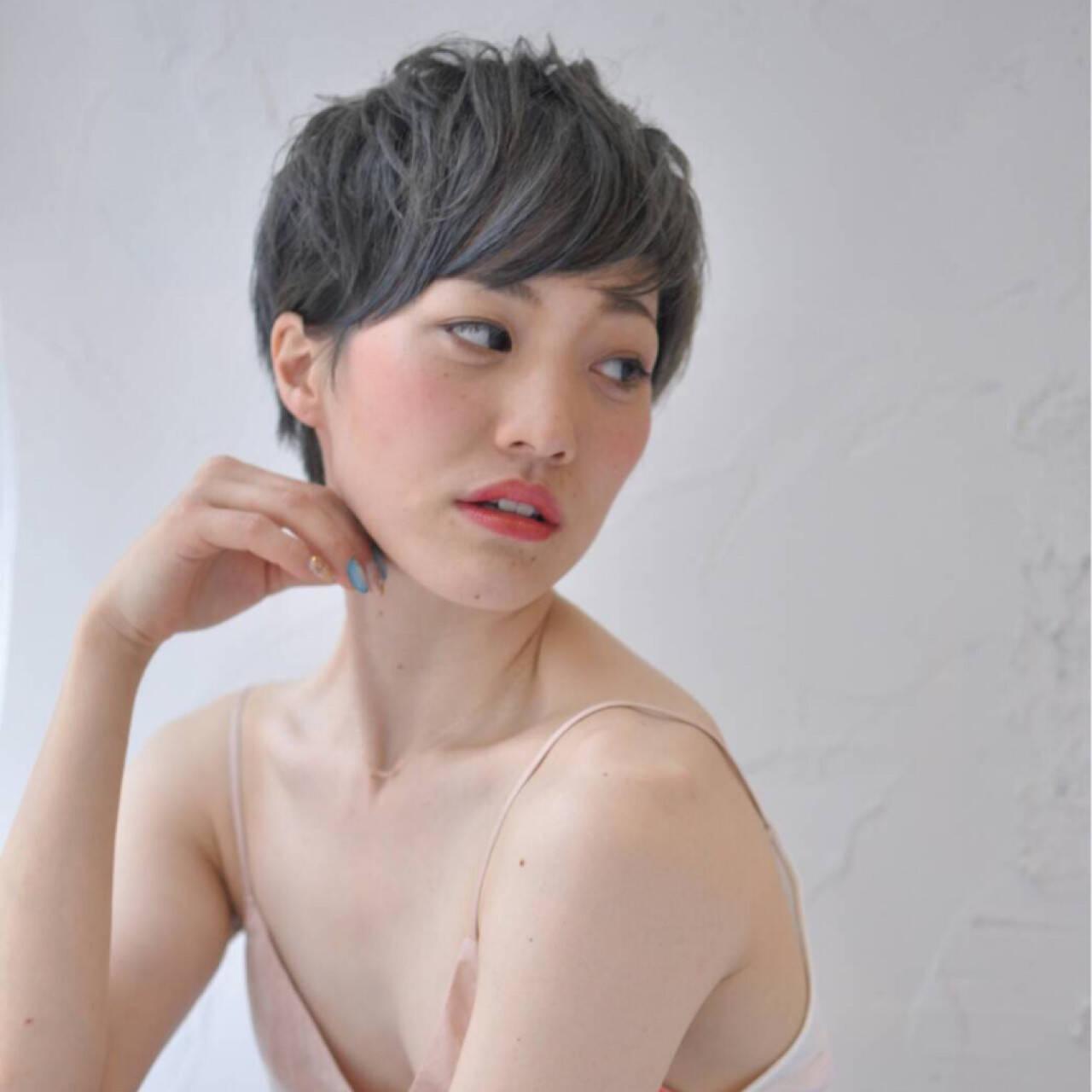 こなれ感 小顔 外国人風 ショートヘアスタイルや髪型の写真・画像