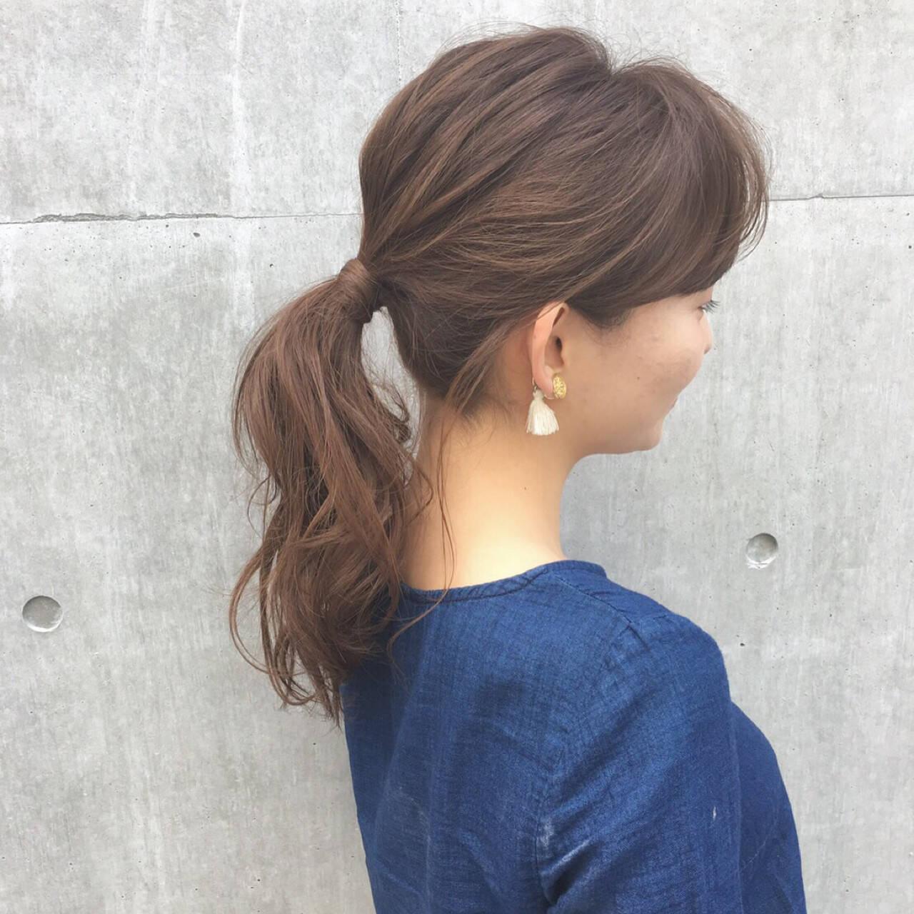 簡単ヘアアレンジ ヘアアレンジ セミロング ポニーテールヘアスタイルや髪型の写真・画像