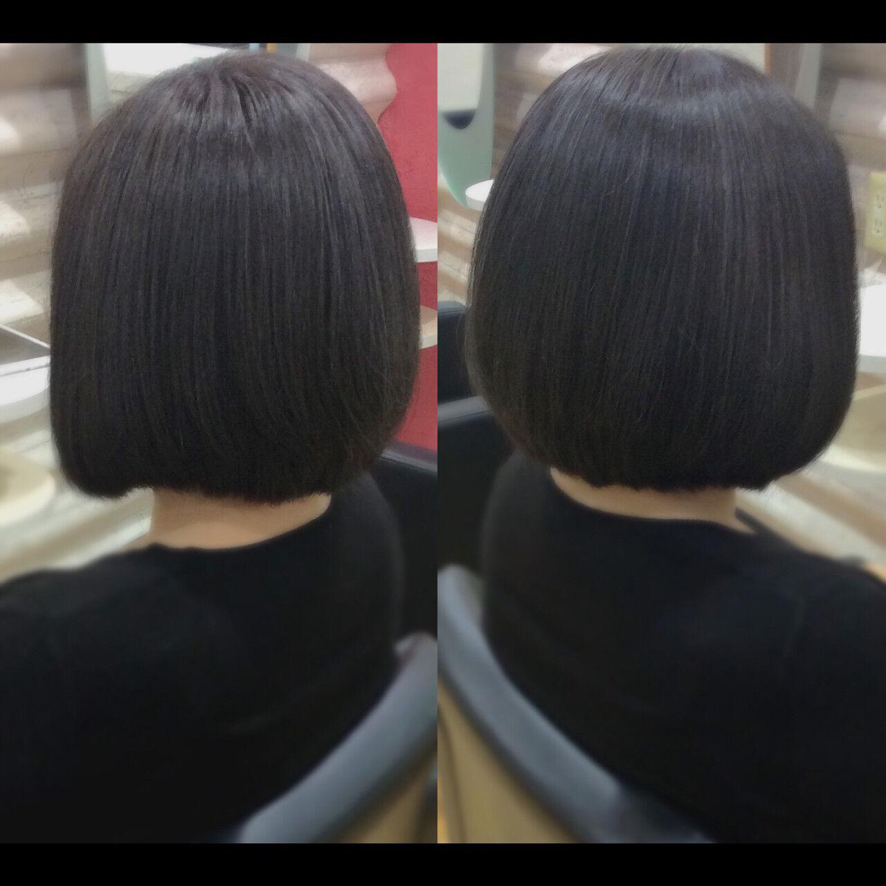 髪質改善カラー ボブ 髪質改善トリートメント ナチュラルヘアスタイルや髪型の写真・画像
