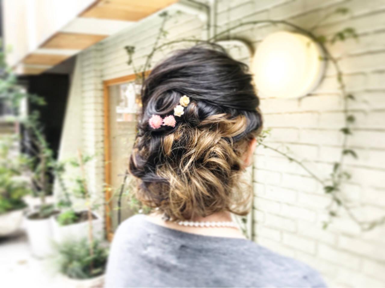 ボブ 結婚式 編み込み ナチュラルヘアスタイルや髪型の写真・画像