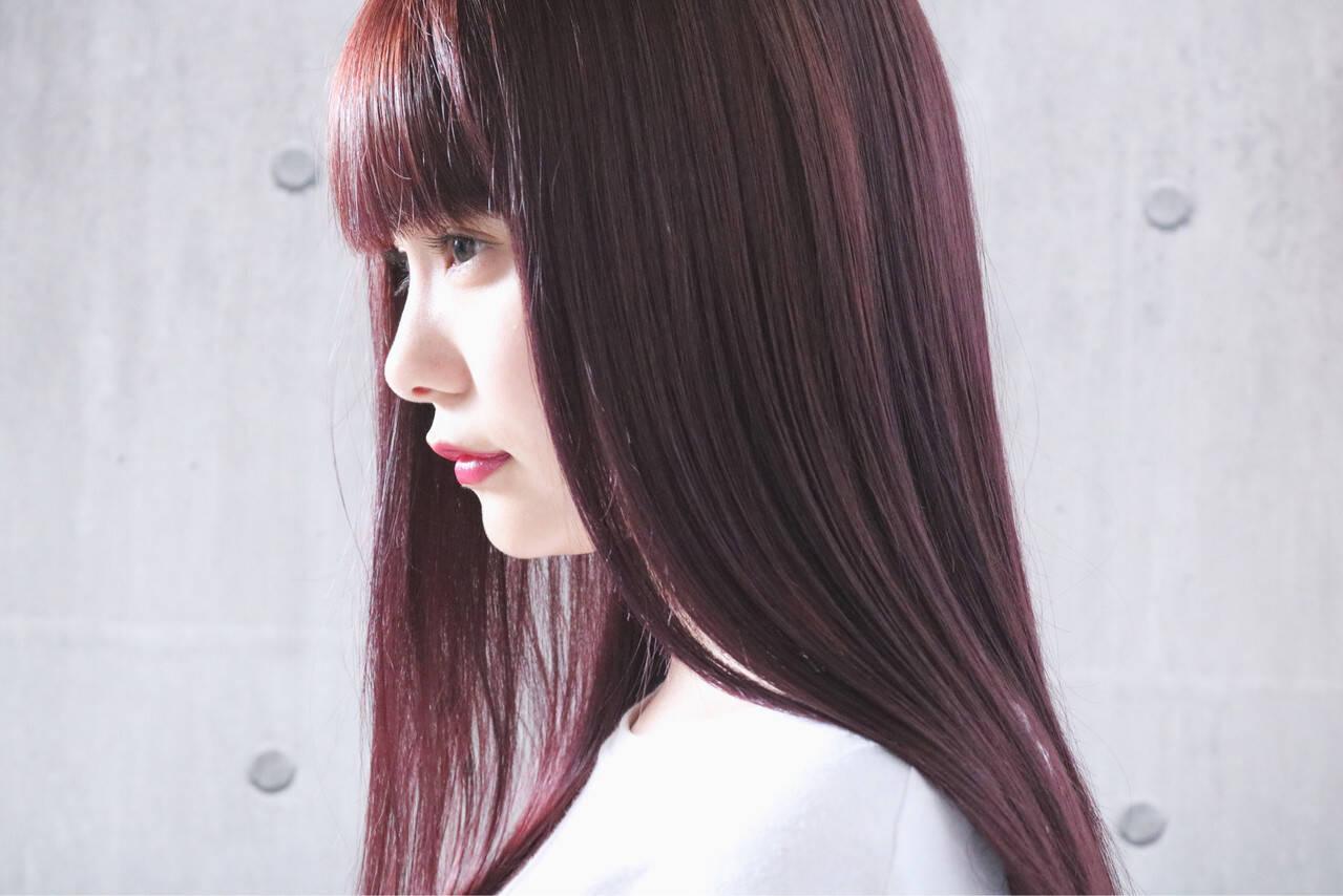 ピンク ロング ピンクアッシュ ピンクパープルヘアスタイルや髪型の写真・画像