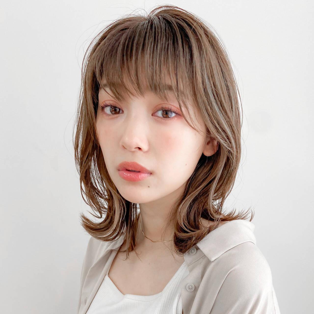 外ハネボブ ミディアム 大人かわいい デジタルパーマヘアスタイルや髪型の写真・画像