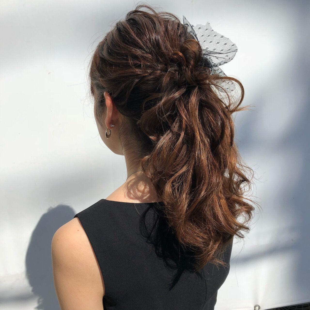 ロング ポニーテール ヘアアレンジ 大人かわいいヘアスタイルや髪型の写真・画像
