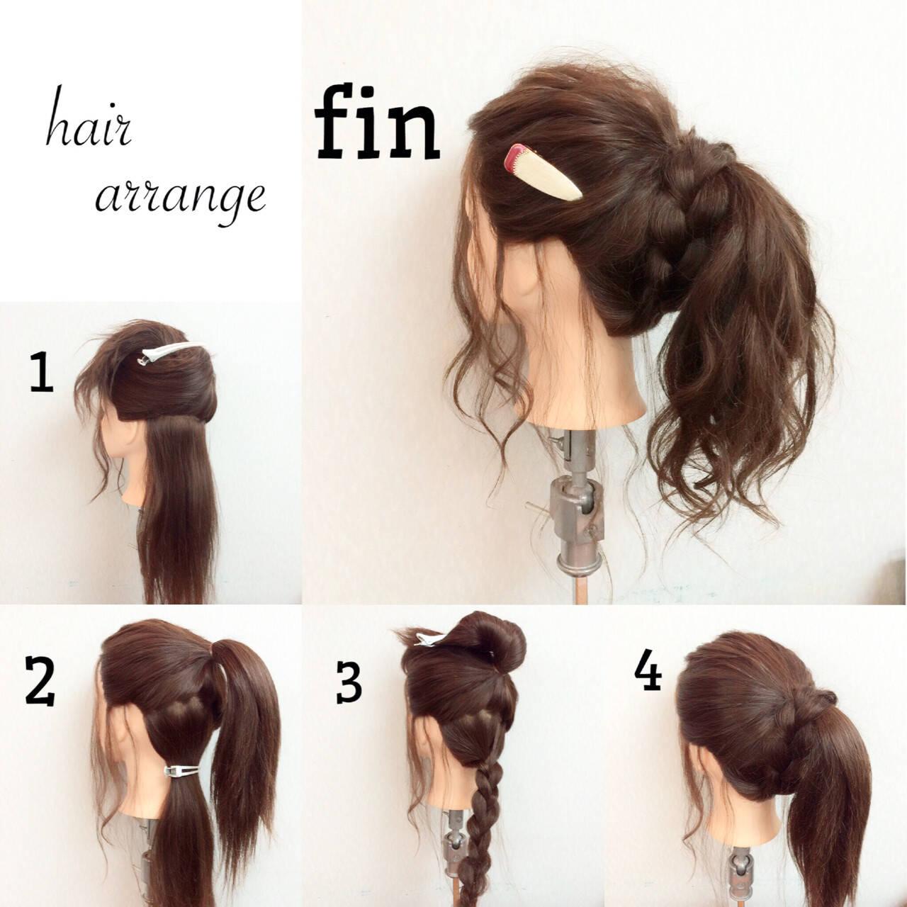 ヘアアレンジ フェミニン ショート ロングヘアスタイルや髪型の写真・画像