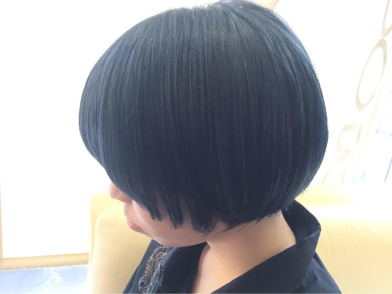 ボブ ブルージュ マッシュ ネイビーヘアスタイルや髪型の写真・画像