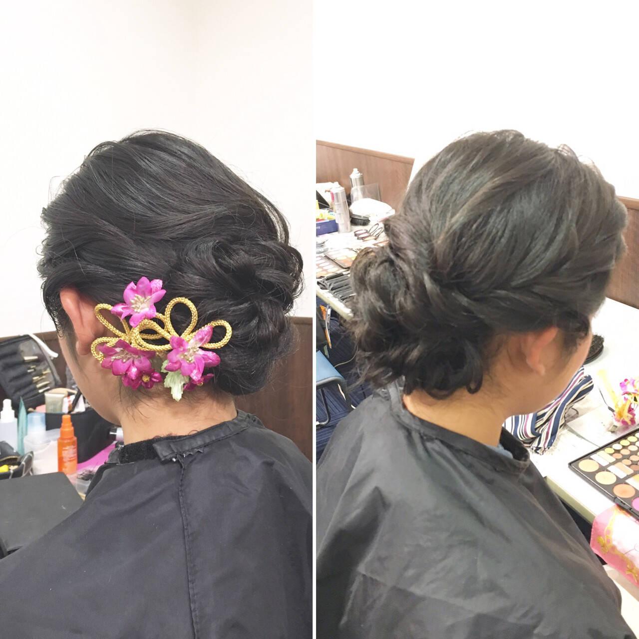 上品 エレガント セミロング 編み込みヘアスタイルや髪型の写真・画像