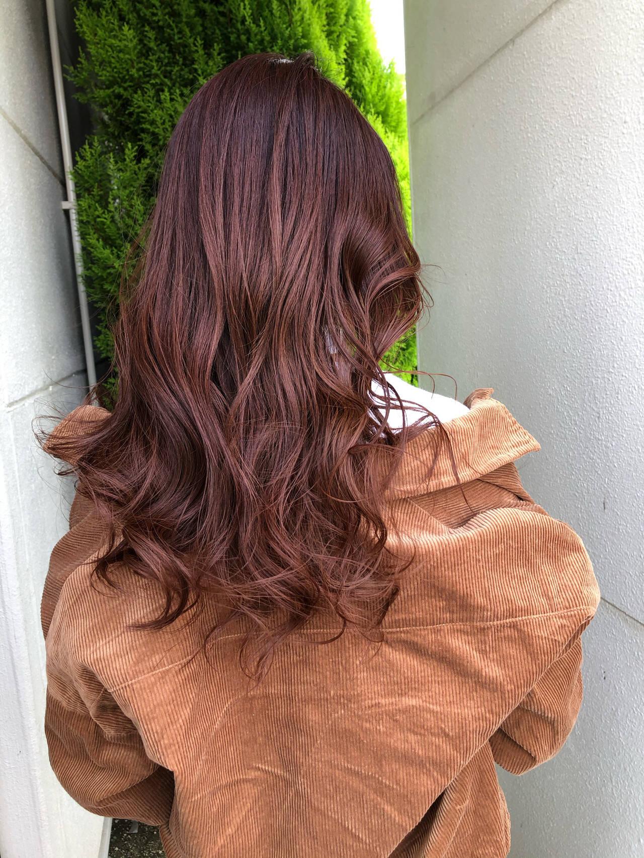 ロング インナーカラー オレンジカラー 大人ロングヘアスタイルや髪型の写真・画像