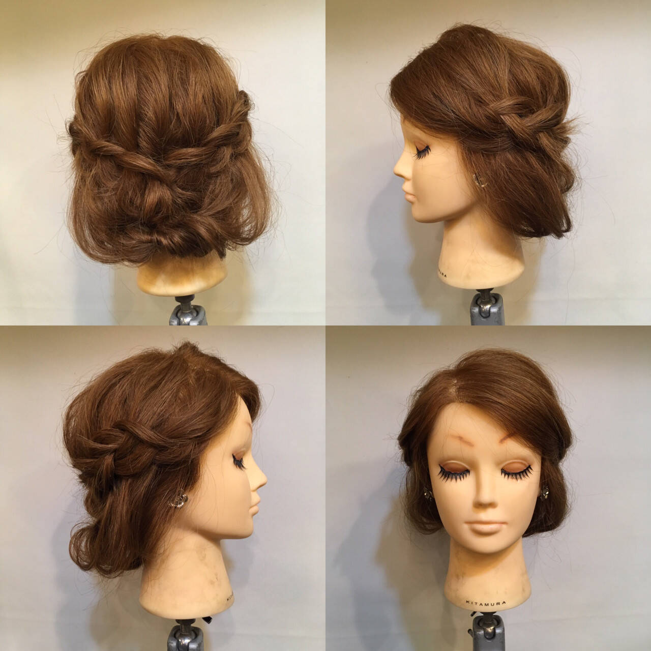 セミロング ヘアアレンジ ツイスト ボブヘアスタイルや髪型の写真・画像