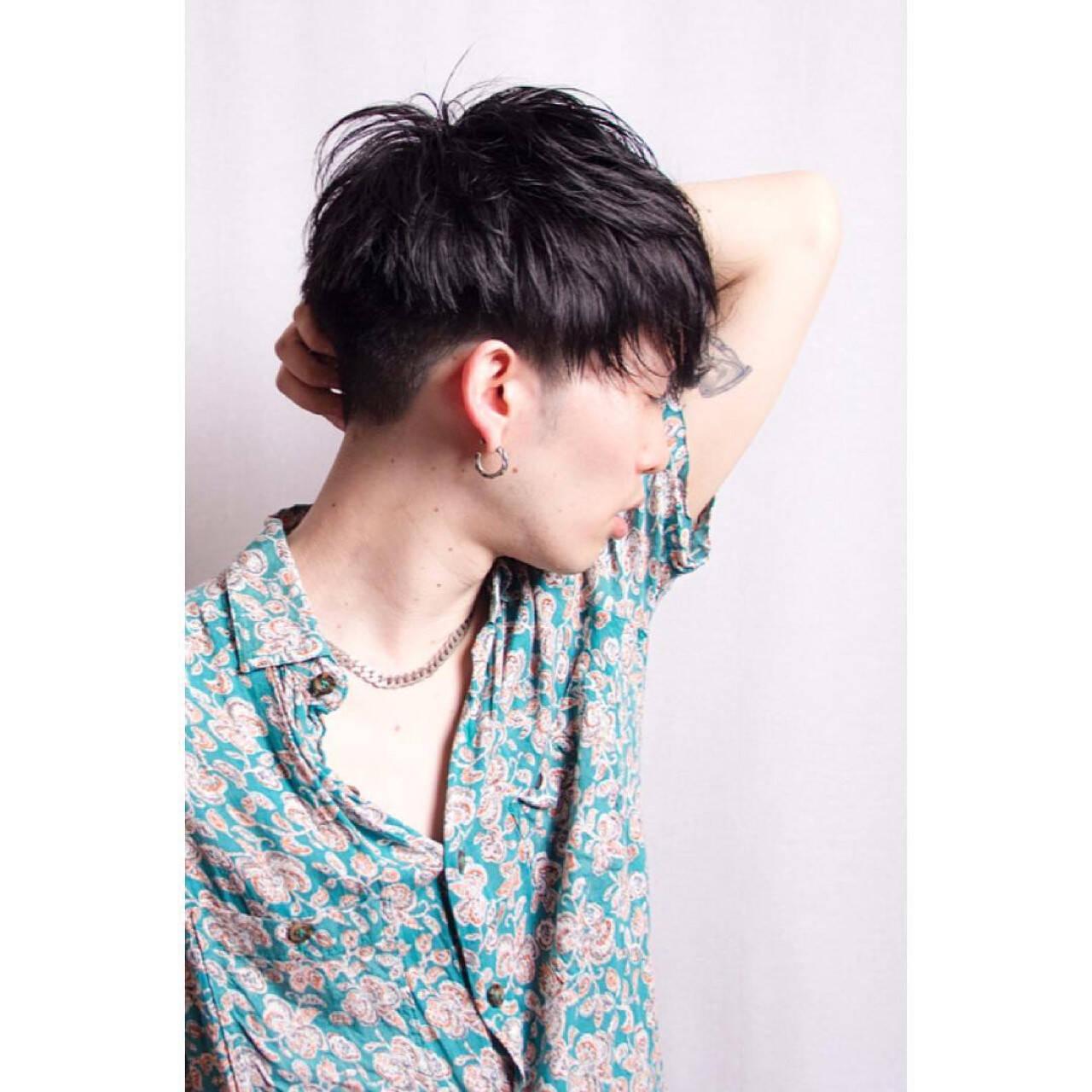 ストリート メンズ ショート 黒髪ヘアスタイルや髪型の写真・画像