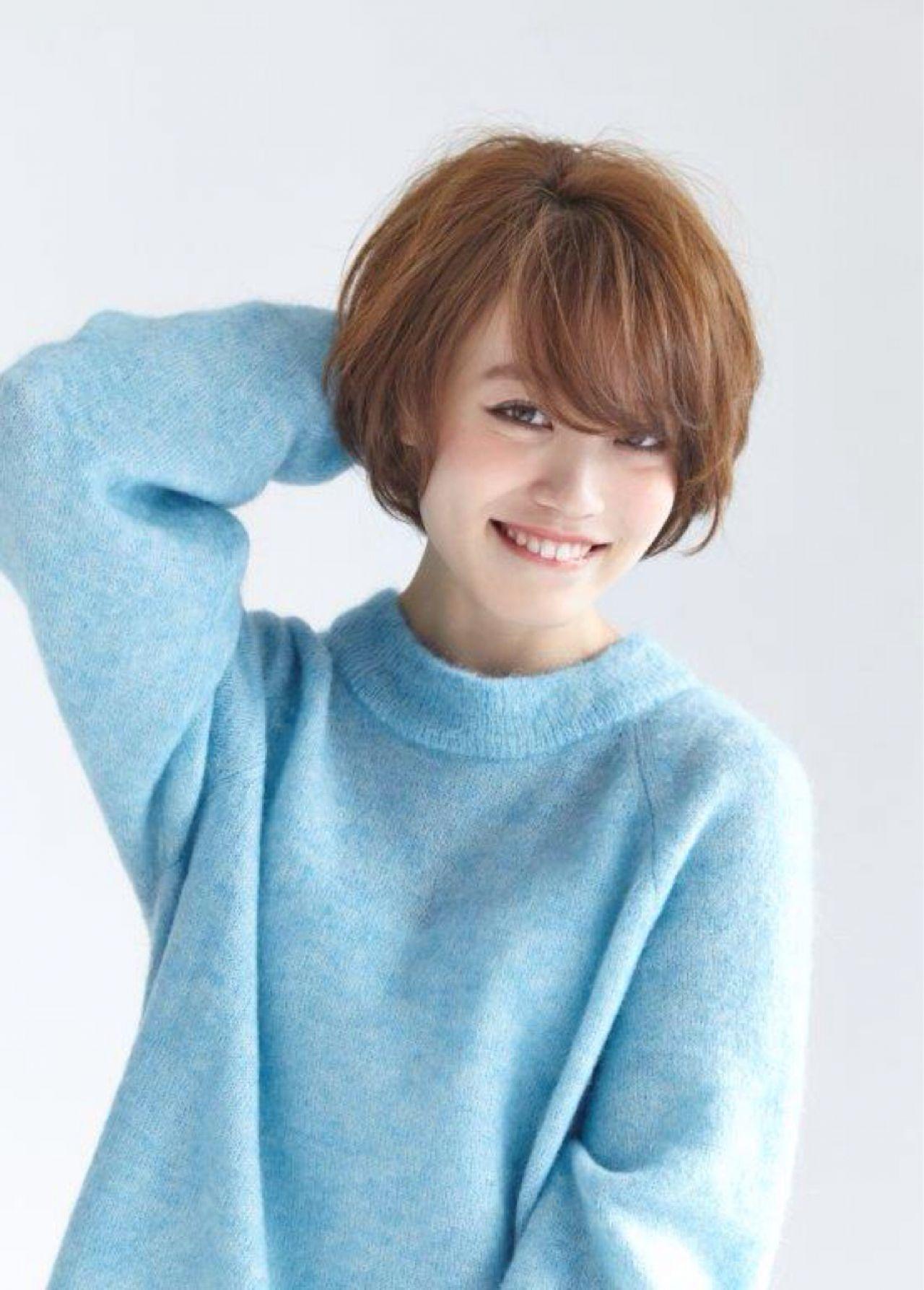 フェミニン ナチュラル ショート モテ髪ヘアスタイルや髪型の写真・画像
