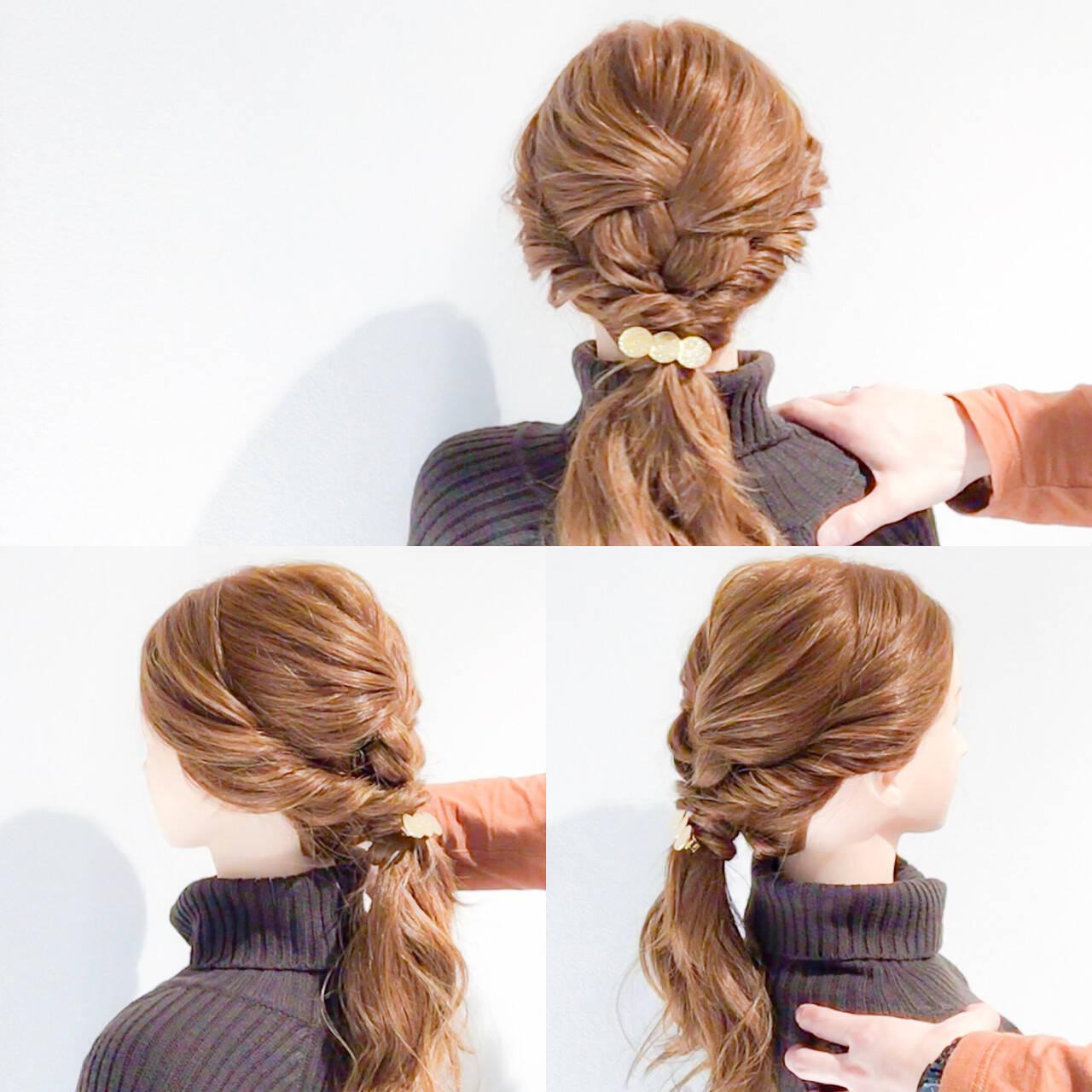 くるりんぱ 結婚式 ハーフアップ フェミニンヘアスタイルや髪型の写真・画像