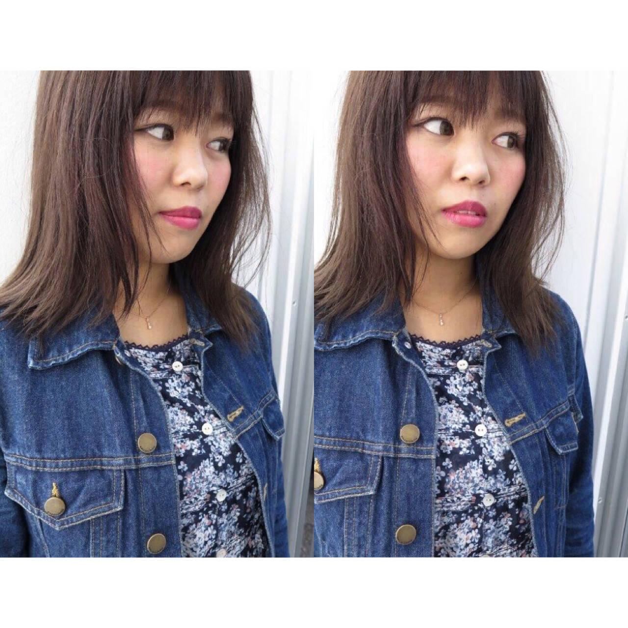 前髪あり ミディアム ストレート ナチュラルヘアスタイルや髪型の写真・画像