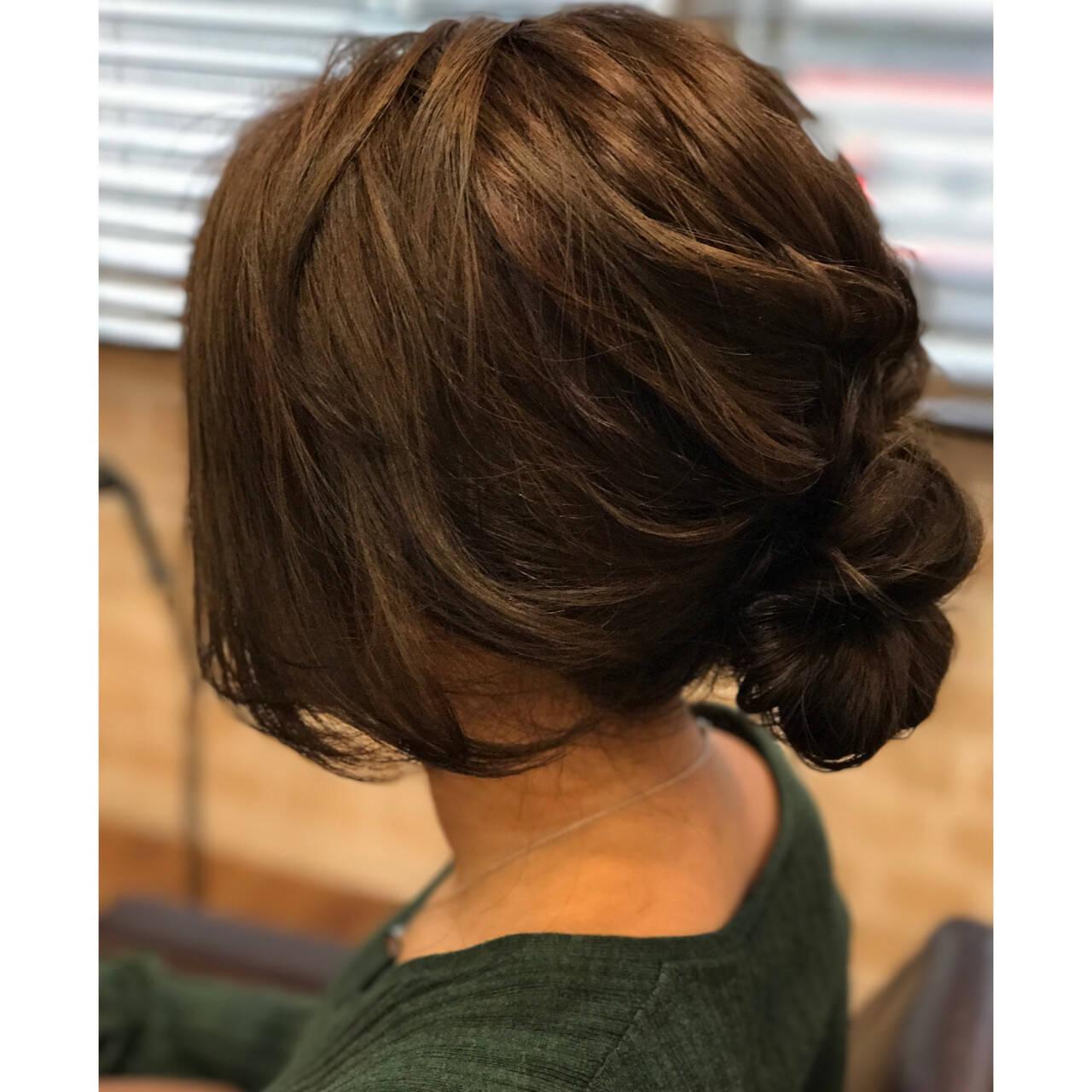 シニヨン セミロング アッシュ パーマヘアスタイルや髪型の写真・画像
