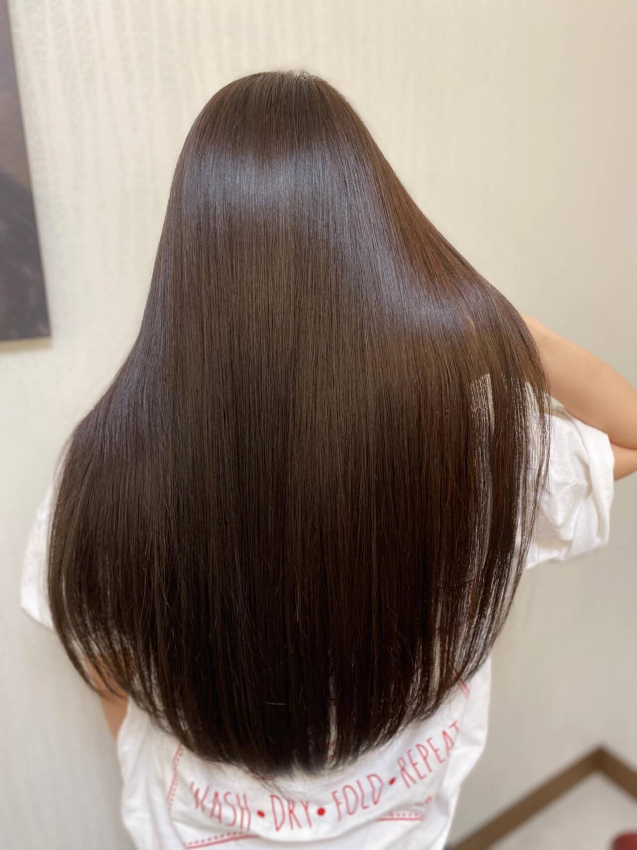 ナチュラル カラートリートメント 髪質改善トリートメント ロングヘアスタイルや髪型の写真・画像